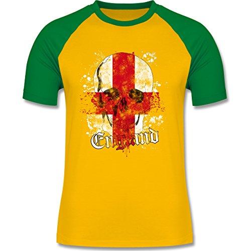 EM 2016 - Frankreich - England Schädel Vintage - zweifarbiges Baseballshirt für Männer Gelb/Grün