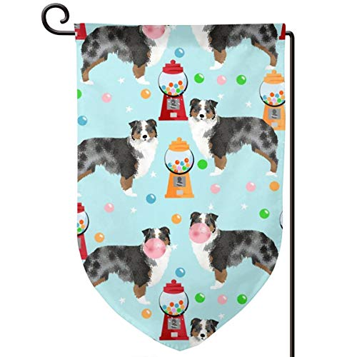 vintage cap Australian Shepherd Bubble Gum Cute Dogs Polyester Garden Flag House Banner 12.5 x 18 inch, Two Sided Welcome Yard Decoration Flag for Wedding Party Home Decor -