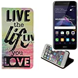 TOP SET für Huawei P8 Lite 2017 Dual SIM 360° Wallet Case Schutz Hülle ''live the life you love'' Schutzhülle Handy Hülle Handyhülle Handy Tasche Etui Smartphone Flip cover Flipstyle für Huawei P8 Lite 2017 Dual SIM - K-S-Trade (TM)
