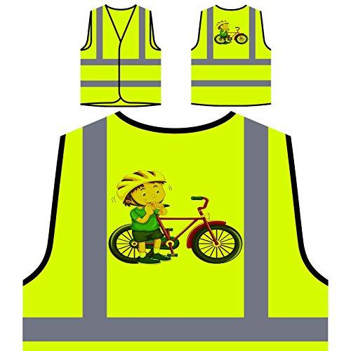 Fahrrad Kind Glücklich Junge Personalisierte High Visibility Gelbe Sicherheitsjacke Weste p199v