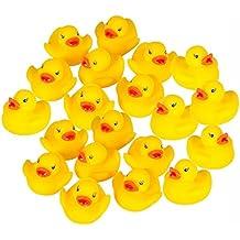 Hosaire 20 Stck Enten Baby Dusche Spielzeug Gelb Entchen Gummi-Ente,Squeeze Wird Klingen