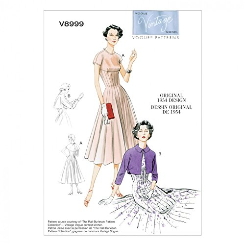 Vintage Vogue (Vogue Vintage Model Schnittmuster 8999Kleid & Bolero Größen: 6-44-12-14)