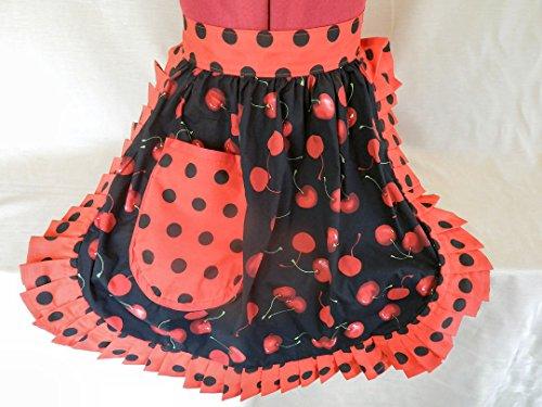 Fabrique Creations-Vintage, in stile anni '50, Pinny Mezzo grembiule, colore: nero (Cherry Red Cherries & & rosso con motivo a pois, colore: nero con finiture FC055H)