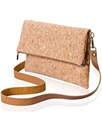 Marks Collection Cross Body Bag Clutch Shoulder Bag Purse Cork Fold Over Zipper Button Inside Lining Light ECO