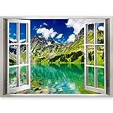 murando - 3D WANDILLUSION 140x100 cm Wandbild - Fototapete - Poster XXL - Fensterblick - Vlies Leinwand - Panorama Bilder - Dekoration - Natur Landschaft c-B-0206-c-a