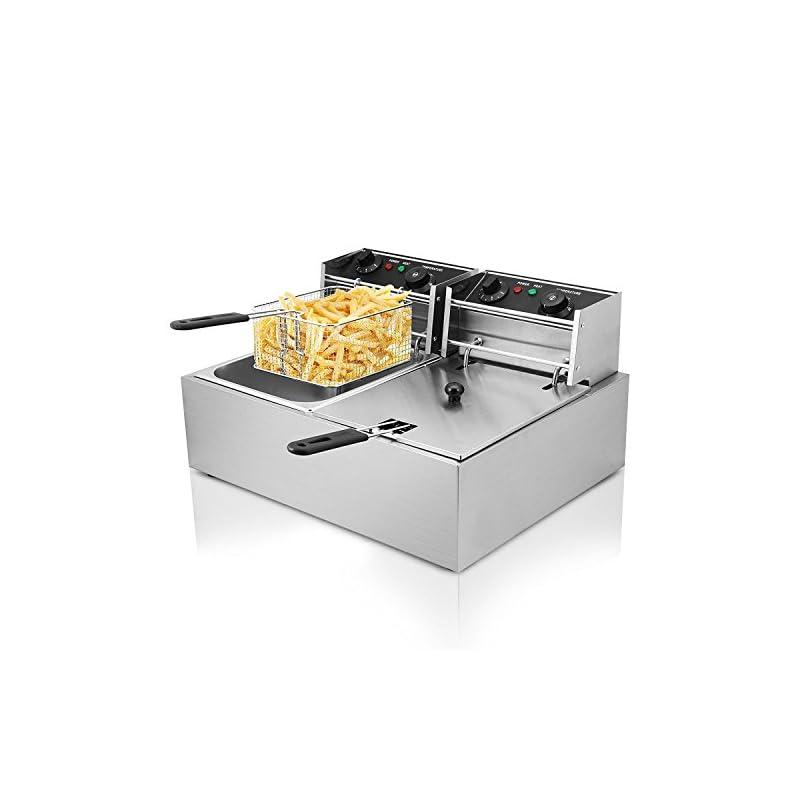 Buoqua Elektrische Friteuse 20l Deep Fryer Edelstahl 3000w Doppeltank Friteuse Mit Zeitschaltuhr Und Ablasshahn