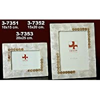 DonRegaloWeb - Portafotos de nácar en color blanco con círculos tostados ...