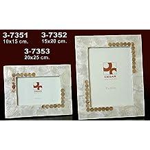 DonRegaloWeb DRW - Portafotos de nácar en Color Blanco con círculos tostados para Foto ...