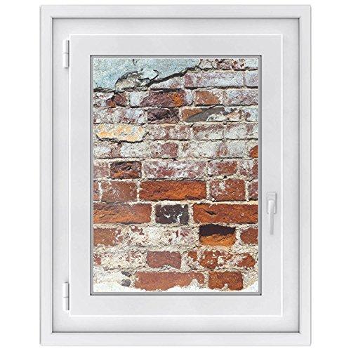 fototapete dachfenster Folie für Fenster - Hochwertiges Fensterbild | selbsthaftende Glasfolie - Individuelle Fensterdeko für Küche, Schlaf- u. Wohnzimmer | Sichtschutz für Badfenster | Design Backstein - 50 x 70 cm