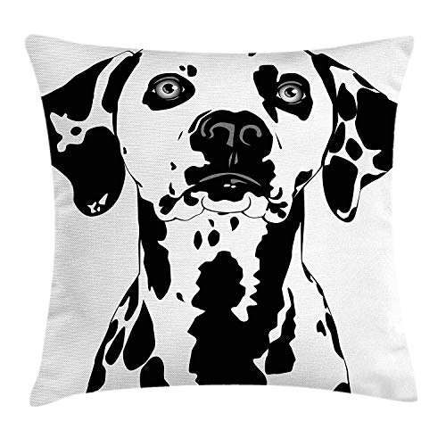 K0k2t0 Dogs Throw Pillow Cushion Cover, Dalmatian Dog with Attentive Expression on Its Face Black and White Animal Energetic, Decorative Square Accent Pillow Case, 18 X 18 inches, Black White -
