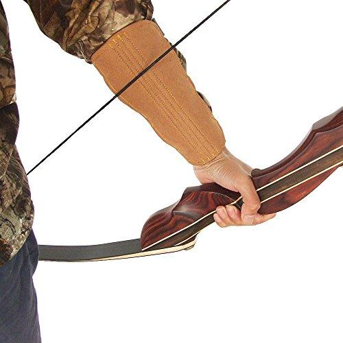 Tiro con arco brazo guardias microfibra gama de arco con 3-Strap ajustable hebillas caza montaña pantalla, marrón