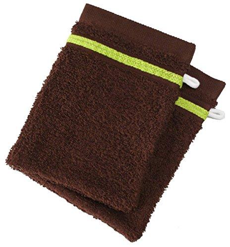 Lot de 2 Gants de Toilette 100% Coton - 550 grS/m2 Chocolat avec Liserets Anis