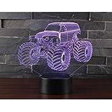 3D Optical Illusion LED Nachtlicht, Hi-azul 7-Farben ändern Touch Tisch Schreibtisch Lampe Deko Lampe mit Acryl Platte & ABS Base & USB Ladegerät für Geschenke (Traktor)