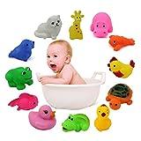 HuntGold 1 set de Juguetes para el Baño de 12 piezas Coloridos Animales flotantes de Goma Suave Jueguete bañera ducha de Baño Natación bebé Niños