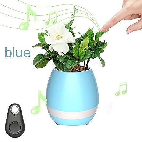 Zqmd Smart Touch Plant Piano Music Playing Light Pot rond, Beaytiful Music-Pot de fleurs Bright Night Light Flowerpot sans fil, Great Smart Festival cadeau pour enfants et adultes. (Bleu)