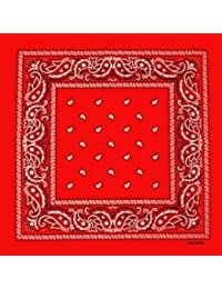 Foulard bandana tour de cou - Paisley USA rouge - Country - Cowboy - Moto