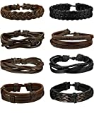 Adramata 8-10 Paare Geflochtene Leder Armbänder Herren Damen Armband Schwarz LGBT Geflochten Einstellbar Armband