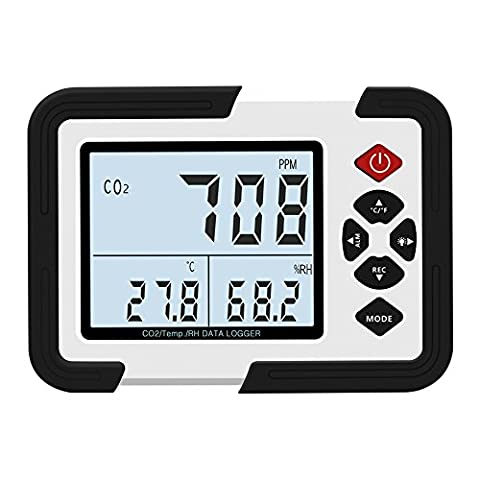 Sunray Monteur de Qualité d'air Intérieur, Thermo-Hygromètre Enregistreur et Détecteur de CO2, Température et humidité, Adaptateur Secteur, Câble USB, Mallette et Batterie Inclus