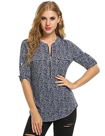 ANGVNS Women's Casual O-Neck Long Sleeve Chiffon Blouse Shirt Tops with Zipper