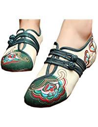 Bonitos y Elegantes Zapatos Bordados de Flores Lotus Crema 38 MrbZ1e