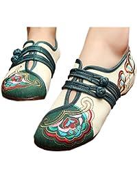 Bonitos y Elegantes Zapatos Bordados de Flores Lotus Crema 38