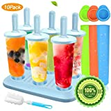 MMTX 10 Pack ijslolly mallen, mallen set, ijslolly Makers, ijs herbruikbare siliconen DIY Frozon Popsicle mallen voor kinderen, peuters en volwassenen met anti-pil deksel schoonmaakborstel. (Blauw)