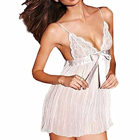Vovotrade Mode Verlockende V-Ausschnitt Racy Muslin Unterwäsche Maid Uniformen Versuchung Unterwäsche (Size:L, Weiß)