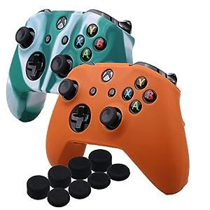 YoRHa Silikon Hülle Abdeckungs Haut Kasten für Microsoft Xbox One X & Xbox One S controller x 2 (Weiß Grün & Orange) Mit PRO aufsätze thumb grips x 8