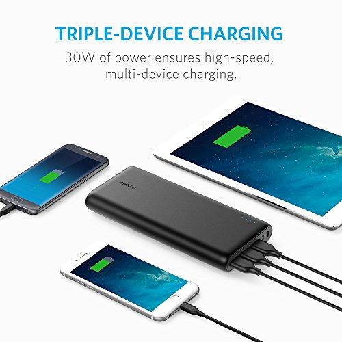 Anker PowerCore 26800mAh Power Bank Externer Akku mit Dual Input Ladeport, Doppelt so Schnell Wiederaufladbar, 3 USB Ports für iPhone X 8 8Plus 7 6s 6Plus, iPad, Samsung Galaxy, Android und weitere Smartphones (Schwarz) - 4