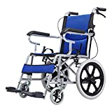 ACEDA Lightweight Expedition Folding Transport Wheelchair Portable With Front And Rear Brakes,48Cm Seat,11KG,Foot Pedal Adjustable,Blue