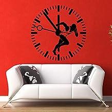 mmzki Etiqueta de la Pared Runner Sport Time Vinyl Sticker Sprinter Reloj Gimnasio Dormitorio Decoración 57