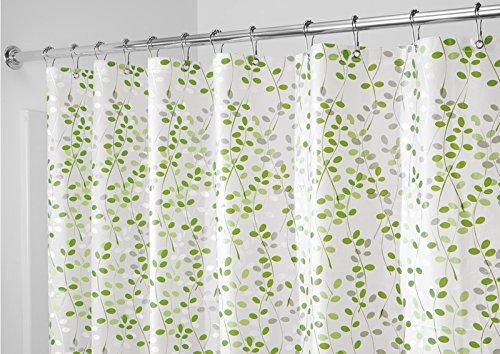 mDesign – Cortina de ducha libre de PVC con estampado de hojas – Accesorio de baño de tamaño perfecto (183 cm x 183 cm) – Cortinas de baño de calidad – Colores: verde y blancos
