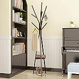ZZHF yimaojia Garderobe-Boden-Art-Eisen-Aufhänger-Einfache Schlafzimmer-Aufhänger-Haushalts-Multifunktionsmantel-Zahnstange Kleiderständer (Farbe : Schwarz)