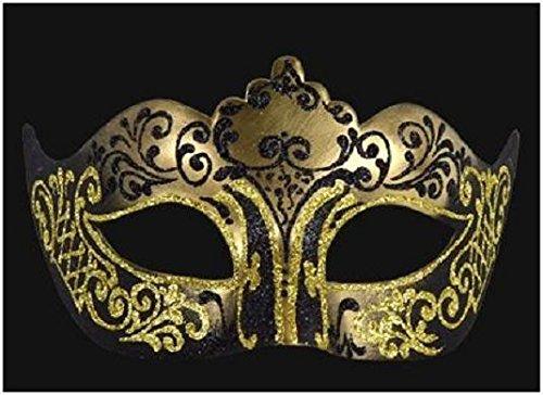 sche Maske Damen Colombina Stella Schwarz Goldfarben Handarbeit Original Karneval Venedig Maskenball Party (Pappmaché Halloween-masken)