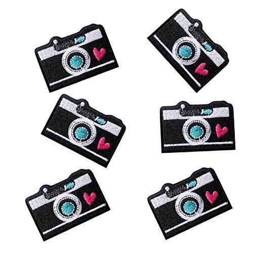 xunhui Süßes Kamera bestickt Patch für Kleidung Bügelbilde Cute Patch Stoff Badge Garment DIY Bekleidung Zubehör 6Stück -
