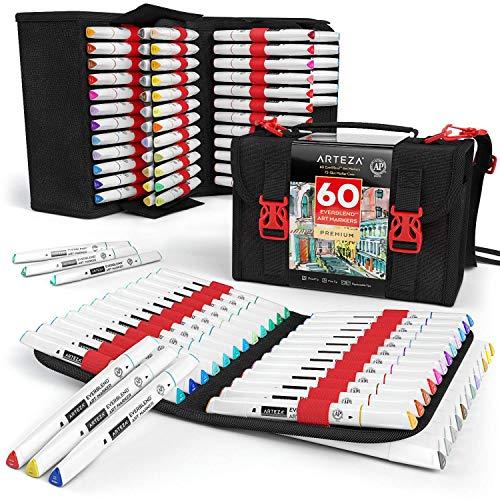 Arteza pennarelli alcool everblend, 60 sketch markers dai colori vividi a doppia punta (fine e scalpello), 1 comoda valigetta blender pen, ideali per disegno, colorare e scrapbooking