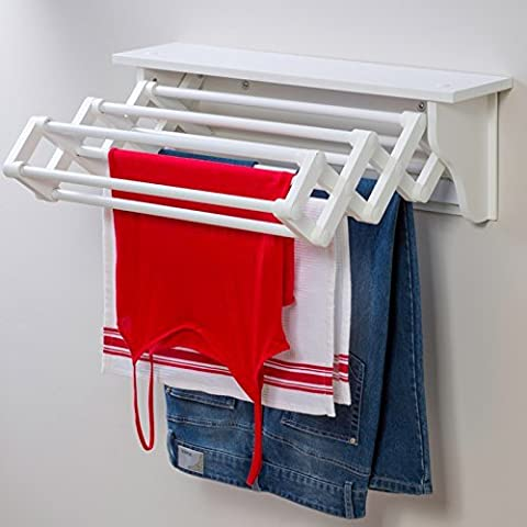 Space Saving Compact Wall Mounted Indoor Expandable Accordion Style Clothes Dryer Folding Laundry Hanging Wash Line Airer Drying Towel Rack With Top Shelf