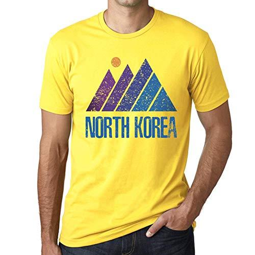 One in the City Hombre Camiseta Vintage T-Shirt Gráfico Mountain North Korea Amarillo