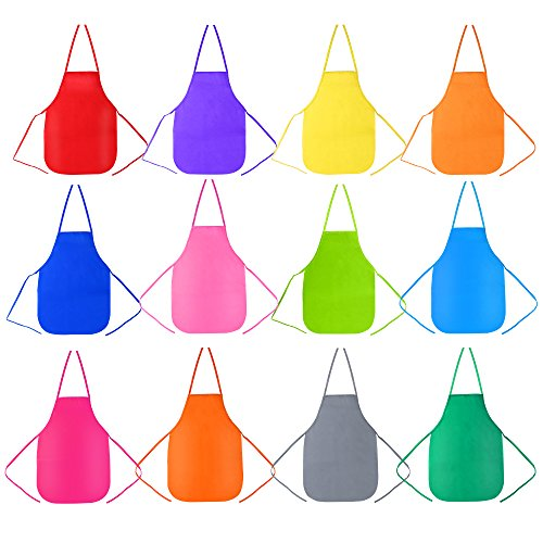 Pllieay 12 Pieces 12 Colour Children's Artists Fabric Aprons for Kitchen,  Classroom, Community Event, Crafts and Art Painting Activity