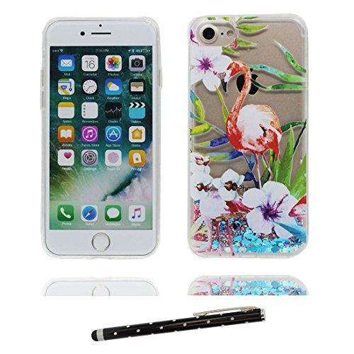 """iPhone 7 Plus Coque, Skin Hard Clear étui iPhone 7 Plus, Design Glitter Bling Sparkles Shinny Flowing Apple iPhone 7 Plus Case Cover 5.5"""", résistant aux chocs & stylet Licorne cheval unicorn # 1"""