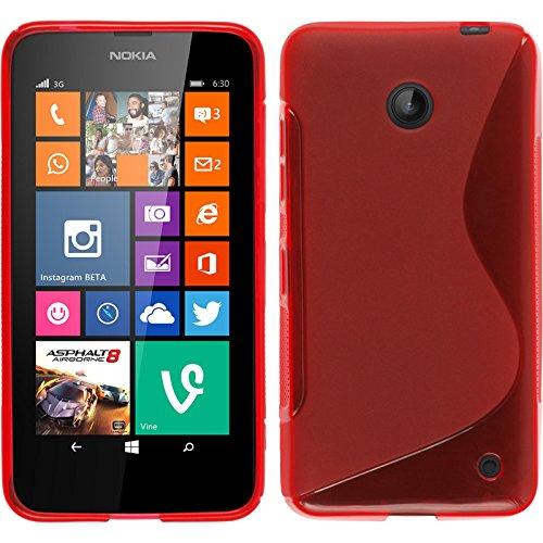 PhoneNatic Case für Nokia Lumia 630 Hülle Silikon rot S-Style Cover Lumia 630 Tasche + 2 Schutzfolien