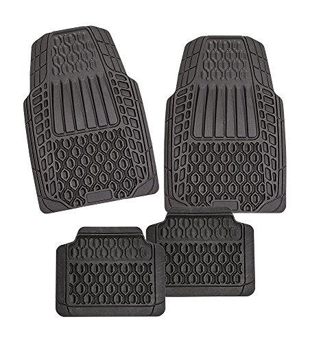 CarFashion 273249 Imola Grandtrack | Allwetter Universal Auto Fussmatten Set ohne Mattenhalter | Automatte Universal für viele Auto Typen | Fußmatte für Auto in schwarz | TPE Gummimatte für Vorne und Hinten | Universal Auto Fußmatten