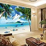 Rivestimento murale fresco di vista sul mare del sofà murale del delfino della foresta del cocco della carta da parati del fondo della TV di Carta Da Parati moderna 3D Fotomurali spiaggia-250cm×170cm