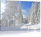 Winterlandschaft Bäume Format: 120x80 cm auf Leinwand, XXL riesige Bilder fertig gerahmt mit Keilrahmen, Kunstdruck auf Wandbild mit Rahmen, günstiger als Gemälde oder Ölbild, kein Poster oder Plakat