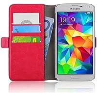 Samsung Galaxy S5 / S5 Neo, JAMMYLIZARD Luxuriöse Ledertasche Flip Cover, KNALLROSA