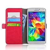 JAMMYLIZARD Lederhülle für Samsung Galaxy S5 / S5 Neo | Handyhülle Book Case Tasche [ Luxuriöse Series ] Ledertasche Flip Cover Hülle Leder Schutzhülle mit Kartenfach, Knallrosa