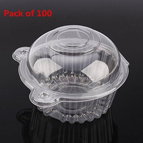 100/200Single klar Kunststoff Cupcake Pod Kuchen Muffin Box, Mini Katze Kopf Cupcake Container, 112mm * 80mm (Single Cupcake Box)