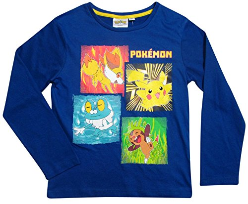 Pokemon Langarmshirt Kollektion 2017 Shirt 104 110 116 122 128 134 140 146 152 Neu Jungen Pikachu Dunkelblau-Grau (Blau, 116/122) (Legos Pokemon)