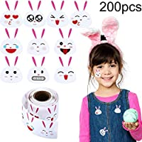Hcode 200 Pieces Easter Bunny Stickers Emoji Bunny Face Stickers, Easter Stickers 1.5 Inch Permanent Adhesive Labels (200 pcs)