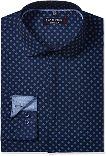 Excalibur Men's Slim Fit Cotton Formal Shirt (268638099_Navy_40)